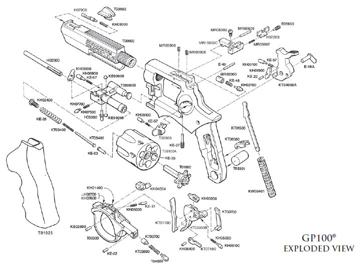 Ruger Gp100 Exploded View Muzzle First